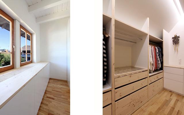 Ankleidezimmer in Weißlack und Zirbe · Schreinerei Bührer, Freiamt · Bild Nr.5