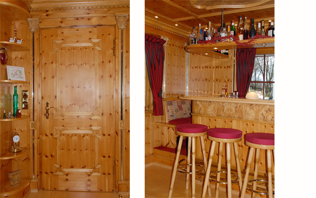 Privat-Bar in Zirbelkiefer · Schreinerei Bührer, Freiamt · Bild Nr.2
