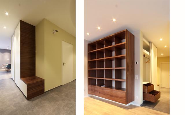 Garderobe mit Sitzplatz passend zum Einbauregal für HiFi