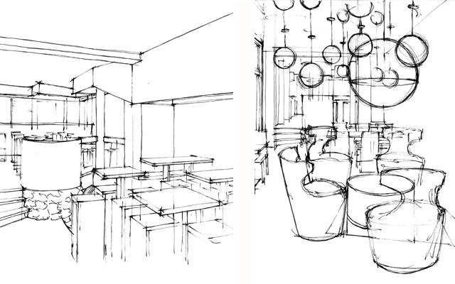Freihand Entwurfsskizzen (Bar / Lounge)