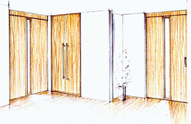 Handzeichnung von Einbauschränken/ Türen